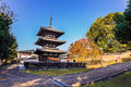 Three storied pagoda of kofukuji temple in nara constructed during the early kamakura period the situated on th west Stock Photography
