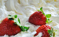Three strawberries with cream background whole and Royalty Free Stock Image