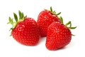 Three strawberry isolated on a white Royalty Free Stock Photo