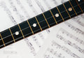 Three string balalaika fingerboard on the note background Stock Photography