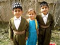Three students teen wearing a traditional kurdish clothes at th of march in kurdistan Royalty Free Stock Image