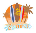 Three surf board on a beach vector of Stock Photography