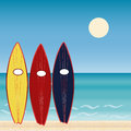 Three surf Boards, beach holidays. Extreme sport. Royalty Free Stock Photo