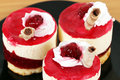 Three sweet raspberry cakes