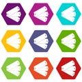 Three tags icon set color hexahedron