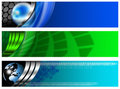 Three Technological Banner blue and green Royalty Free Stock Photos