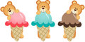 Three teddy bears eating ice cream