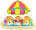 Three teddy bears soaking up the sun eating ice cream