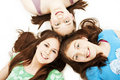 Three teen girls. Education, holidays. Royalty Free Stock Photography