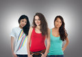 Three teenage girls wearing casual outfit together Stock Photo