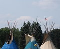 Three teepees at edmonton alberta heritage day celebration august Royalty Free Stock Images