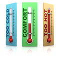 Three thermometers d illustration of over white background Stock Photography