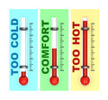 Three thermometers d illustration of over white background Stock Photo