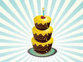 Three tier birthday cake Stock Photography