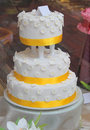 Three Tier Floral Wedding Cake Stock Photos