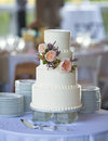 Three tiered wedding cake with flowers Royalty Free Stock Image