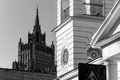 Three times in moscow city landscape stalin building and church Royalty Free Stock Photography