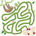 Three toed slothful on a branch and the apple pear strawberry cherry on white background labyrinth game for preschool children v Royalty Free Stock Photo