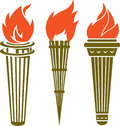 Three torches collection of long handled Royalty Free Stock Photography
