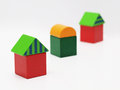 Three toy houses Royalty Free Stock Photo