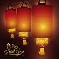 Three Traditional Chinese Lanterns for New Year, Vector Illustration Royalty Free Stock Photo