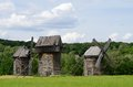 Three traditional old Ukrainian rural wind turbines ,Pirogovo Royalty Free Stock Photo