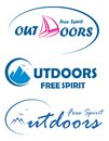 Three travel logos - free spirit outdoors Stock Image