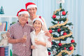 Three by the tree portrait of a happy family standing a decorated christmas Royalty Free Stock Image