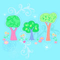 Three Trees Garden Vector Illustration Stock Images