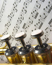 Three trumpet valves Stock Photos