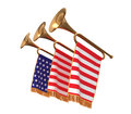 Three trumpets with a flags. Royalty Free Stock Photo