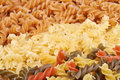 Three types fusilli pasta focus three colored Stock Photography