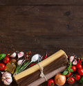Three types of spaghetti, vegetables and herbs Royalty Free Stock Photo