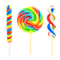 Three unique lollipop candies isolated on white Stock Photo