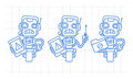 Three variants robot character holding tablet screwdriver folder