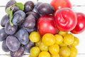 Three varieties of plums Royalty Free Stock Photo