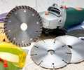 Three various diamond a disk for are sharp construction materials the cutting machine and detachable disks Stock Photography