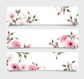 Three vector banners with pink lisianthus flowers.