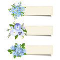 Three vector banners with various blue flowers. Eps-10. Royalty Free Stock Photo