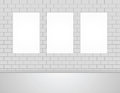 Three Vector Empty Blank White Mock Up Posters Pictures on a Wall.