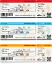Three vector templates of boarding pass tickets