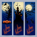Three vertical halloween banners set of beautiful for with place for text Royalty Free Stock Photography