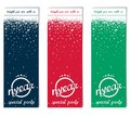 Three vertical ticket for christmas party abstract flyer new year with inscription nyear and winter snow vector eps Stock Photos