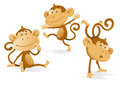 Three very cheeky monkeys illustration of a group of getting up to all sorts of mischievous tricks and fun Stock Photography
