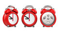Three views of cartoon red alarm clock. 3d Illustration, on white background.
