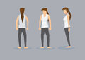 Three views of slim woman in white tank top and black leggings front profile back view a barefooted with long ponytail toned body Stock Photography