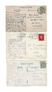 Three vintage postcards from great britain isolated Royalty Free Stock Images