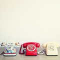 Three Vintage Telephones Royalty Free Stock Photo