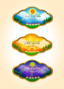 Three vintage time lapse landscape tag icons create by vector Stock Photography
