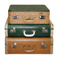 Three Vintage Travel Cases Royalty Free Stock Photo
